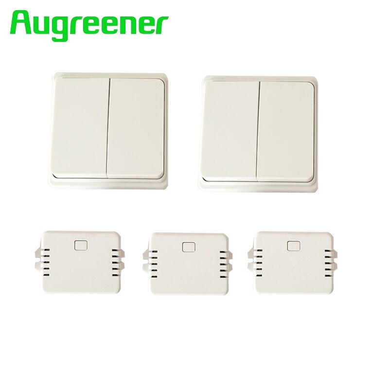 Augreener nouvelle interrupteur mural 2 boutons + 3 récepteurs à distance relais télécommande interrupteur de lumière 220 v 1 gang 2 way bouton-poussoir commutateur