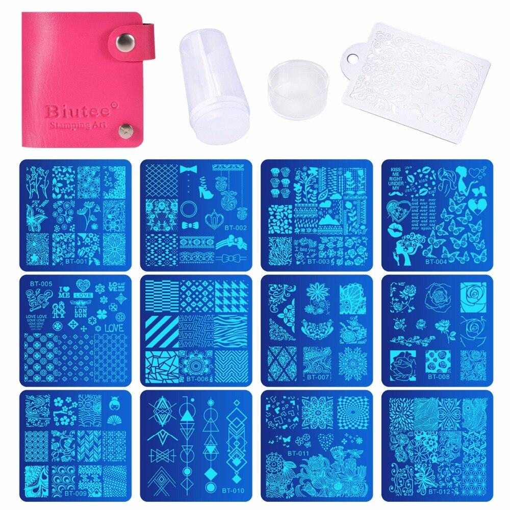 Biutee Nail Stamping Plates Set 12pcs Nail Plates 1stamper 1scraper 1storage bag Nail plate Template Image Plate Stencil