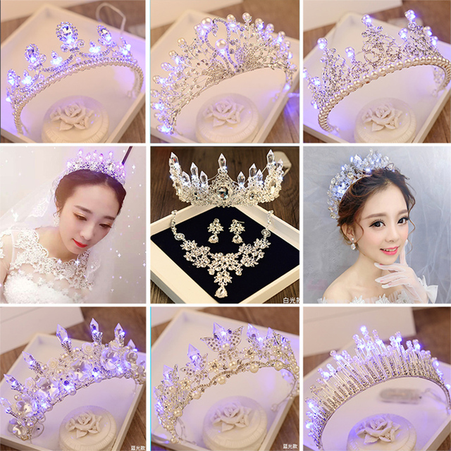 Bridal Luminous Crown Women Brithday Party Hair Decoration Wedding LED Light Tiara Bride Queen Crown Christmas Girl Hair Jewelry