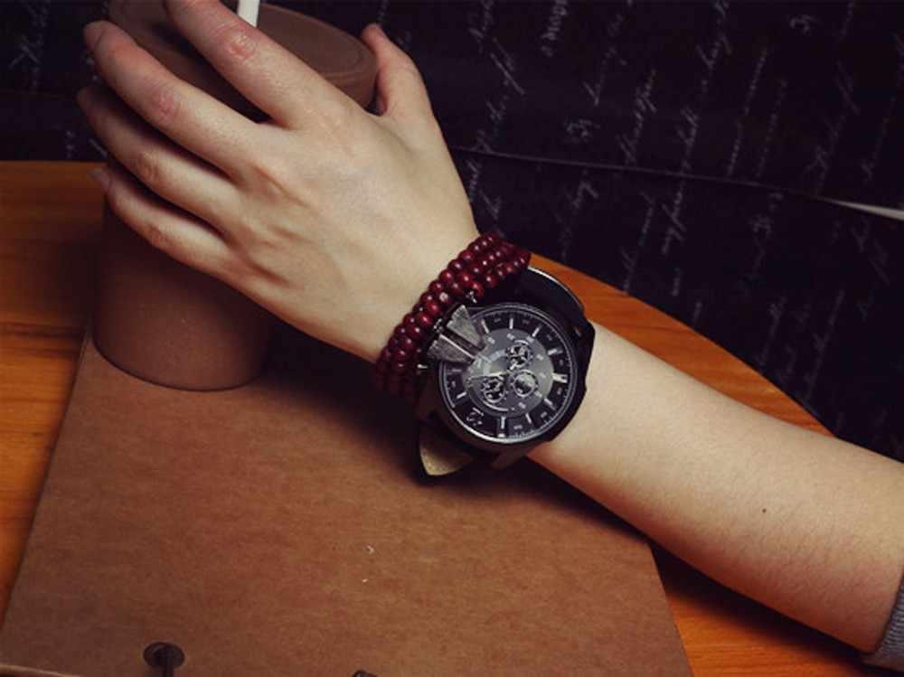 גברים שעון יד אופנה מזדמן פו עור קוורץ אנלוגי erkek kol saati relojes para hombre horloges mannen orologio uomo
