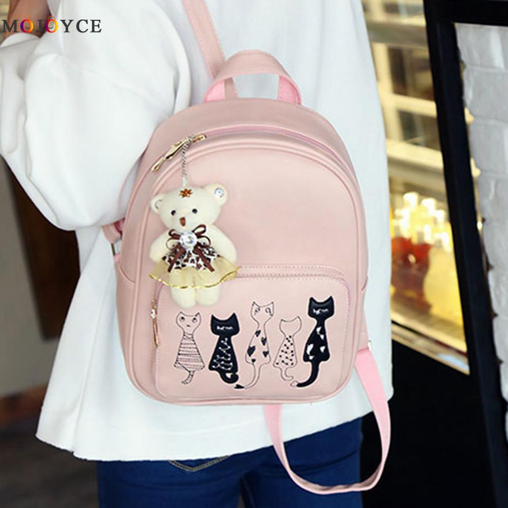 4pcs/set Small Backpacks Female School Bags For Teenage Girls Black Pink Pu Leather Women Backpack Shoulder Bag Purse Mochila #4