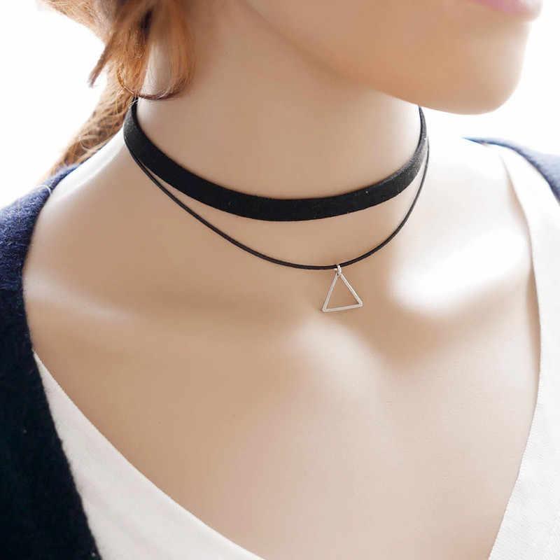 Wielowarstwowe Chokers naszyjniki dla kobiet trójkąt geometryczny wisiorek naszyjnik Collares moda Bijoux Colar biżuteria prezenty hurtowo
