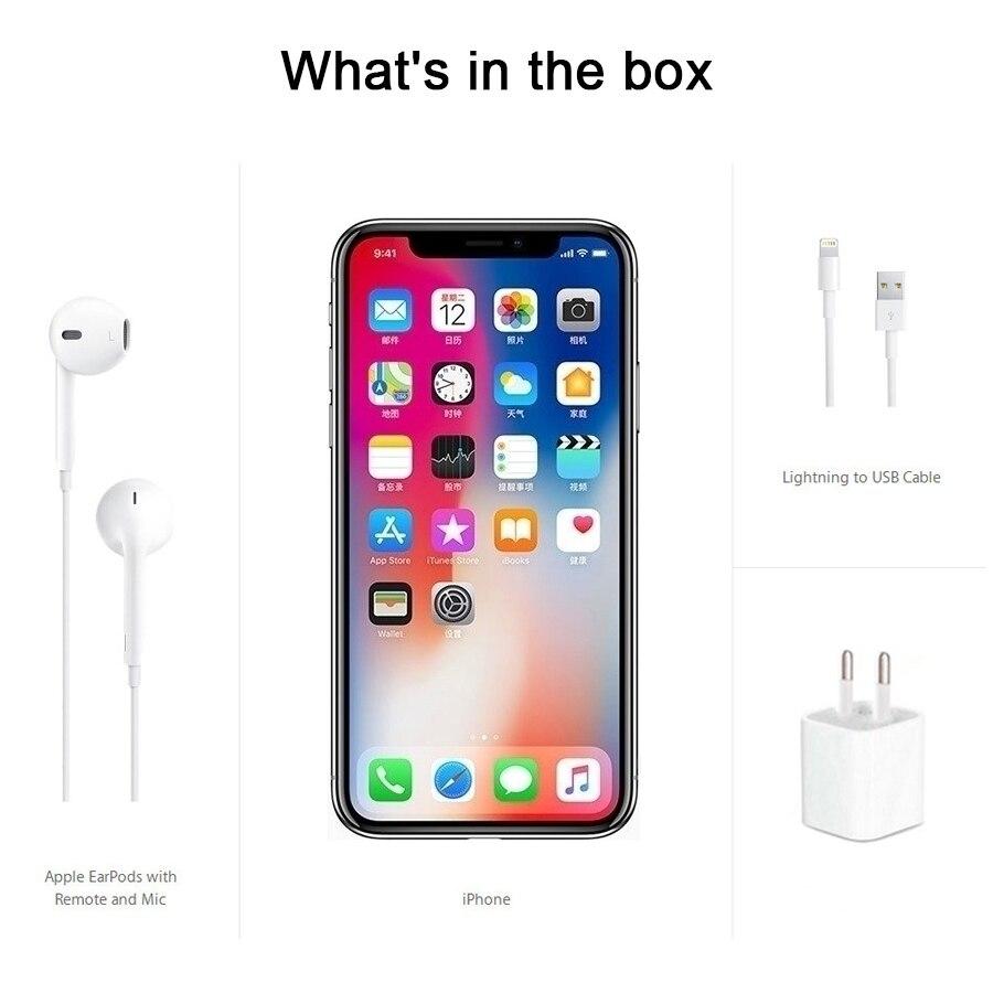 Apple original iphone x face id 64gb/256gb rom 3gb ram 12mp hexa núcleo ios a11 5.8 polegada câmera traseira dupla 4g lte desbloquear iphone x 3