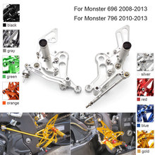 CNC Aluminum Adjustable Rearsets Foot Pegs For Ducati Monster 696 796 2008 2009 2010 2011 2012 2013 cnc motorcycle parts rearsets foot pegs rear set for benelli bj600gs 2010 2011 2012 2013 red color