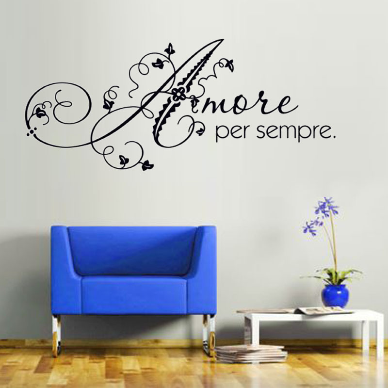 Dctop Love Forever Italian Wall Sticker Art Romantic Home Decor Diy Removable Self Adhesive Wall Decorative