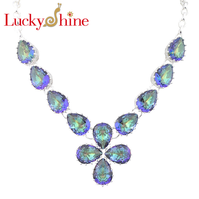 Luckyshine Oval Fire Drop Fire Mystic Created Topaz Silver Plated Wedding Chain Necklaces Russia USA Canada Pendants Necklaces