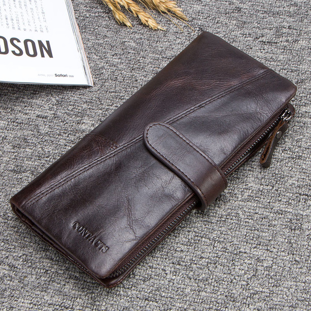 CONTACT'S Genuine Crazy Horse Cowhide Leather Men Wallets Fashion Purse With Card Holder Vintage Long Wallet Clutch Wrist Bag 5