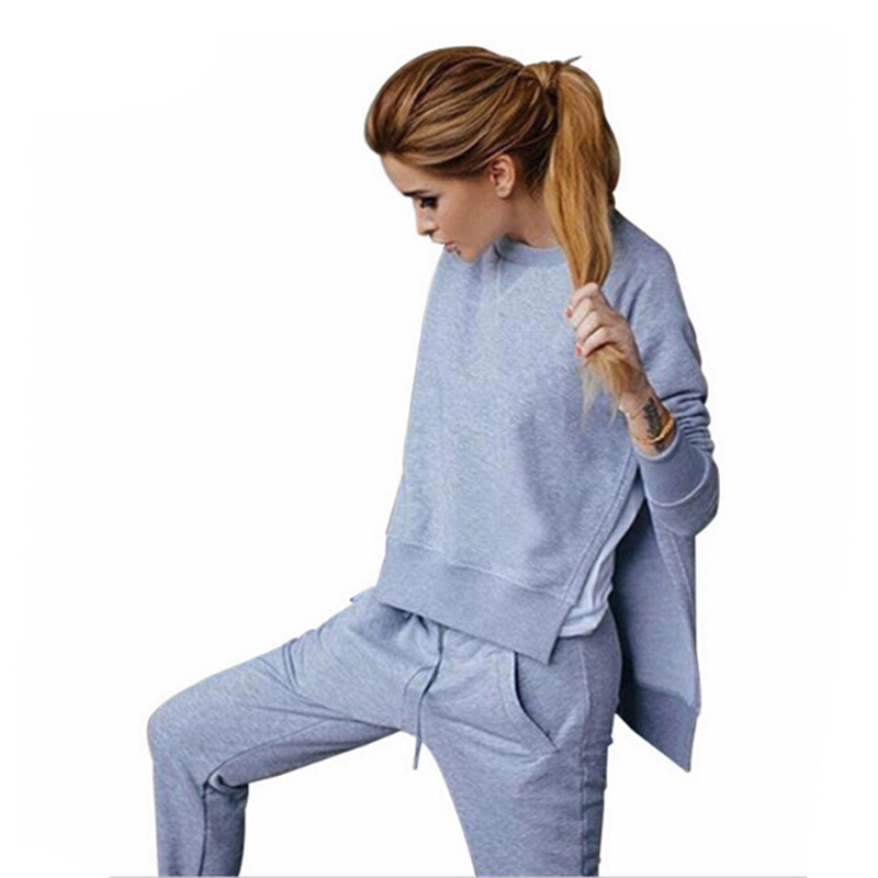 Womens European and American Fashion Two-piece Set Irregular Split-Hair Sweater Set Womens Clothing Womens casual suit