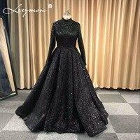 Robe De Soiree Glitter Shiny Evening Dress Full Sleeves Black Evening Party Floor Length High Neck Formal Long Evening Dress