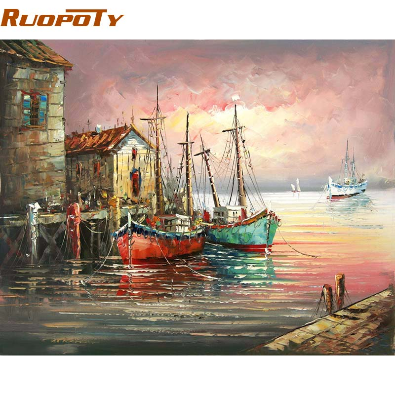 RUOPOTY Frame shipside Diy Painting By Numbers Home Decor Wall Art Picture Hand Painted oil painting Kits Acrylic Paint home