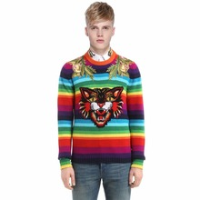 ECTIC Men Thickened sweater rainbow printing fashion man Round neck Cat embroidery Jacquard coat S-XXL