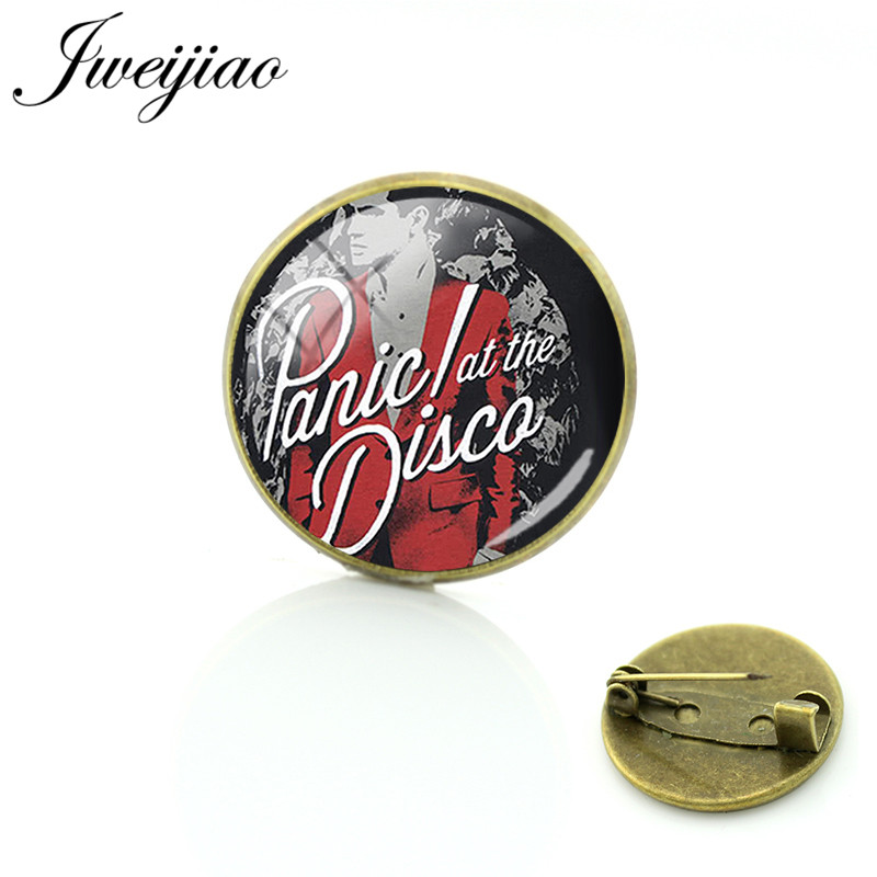JWEIJIAO Keep Calm and Panic! at the Disco Brooches Glass Cabochon Dome Antique Bronze Metal Badge Clothes Bag Pin PD88(China)