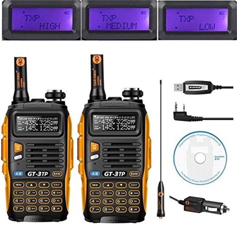2 pcs Baofeng GT-3TP MarkIII TP 1/4/8 Watt Haute Puissance Double Bande 2 m/70 cm Ham Two Way Radio Talkie Walkie avec Câble de Programmation/CD
