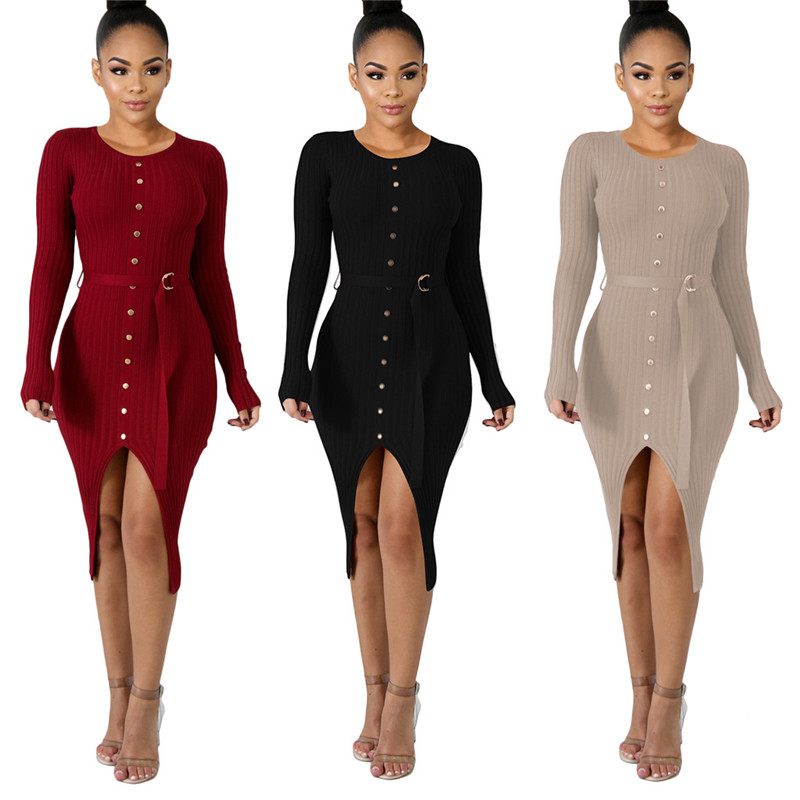 Ribbed Knitted Front Split Buttons Sexy Bandage Dress with Belt Long Sleeve High Slit Bodycon Midi Club Party Women Outfits