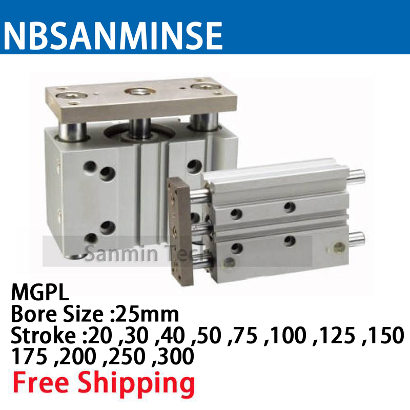MGPL Bore Size 25 Compressed Air Cylinder SMC Type ISO Compact Cylinder Miniature Guide Rod Double Acting Pneumatic Sanmin