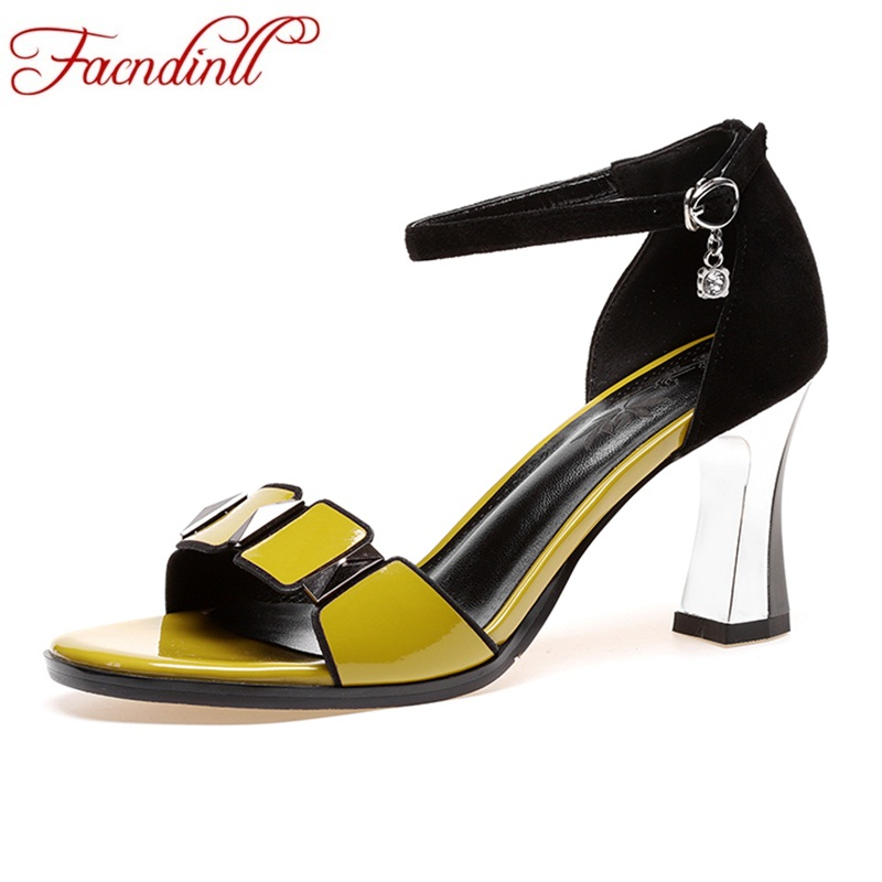 FACNDINLL women new fashion genuine leather sandals gladiator sexy high heels peep toe shoes woman dress party wedding shoes fashion buttons rivet studs high heels designer gladiator sandals red black women pumps party dress sexy wedding shoes woman