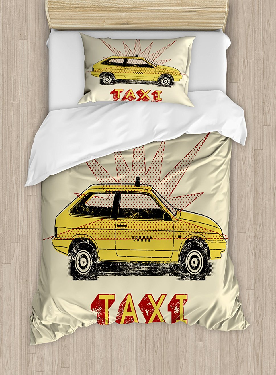 Retro Duvet Cover Set , Pop Art Style Old Fashioned Taxi Cab with Grunge Effects Vintage Car Graphic, 4 Piece Bedding Set