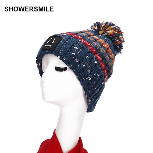 Winter Womens Knitted Hat Woolen Beanies With Pom Pom Warm Thick Fleece Lining Colorful Graffiti Blue Red Ladies Cap Accessories