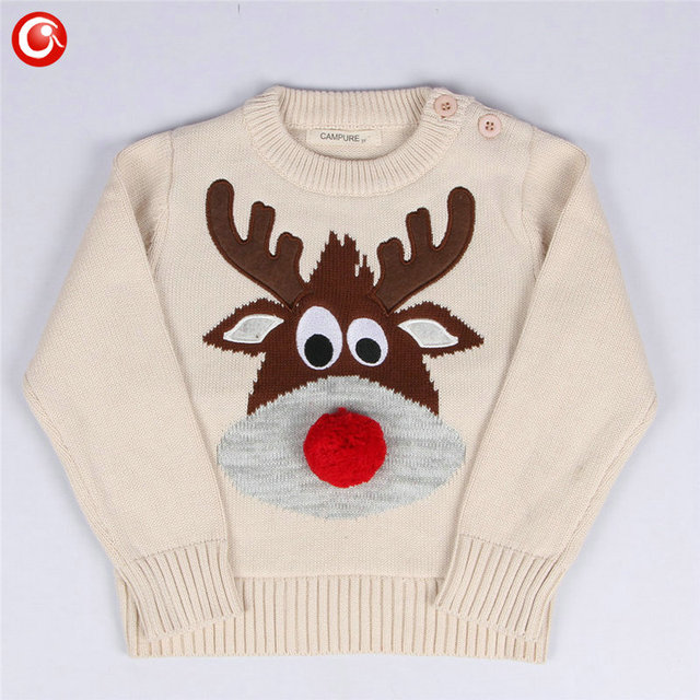 1-5y 2016 Autumn/Winter Fashion Toddler Kids Girls Deer Sweater Long Sleeve Crochet Knitted Top For Christmas Kids Boys Cardigan