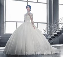 Hot Sheer Lace High Neck Ball Gown Wedding Dresses 2016 Plus Size Appliques Beadings Sheer Back