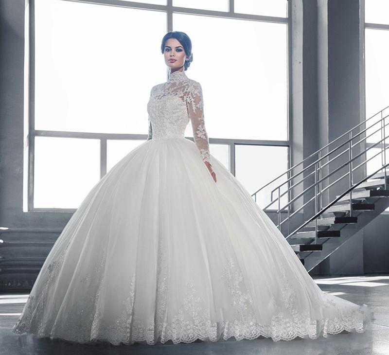 Hot Sheer Lace High Neck Ball Gown font b Wedding b font font b Dresses b