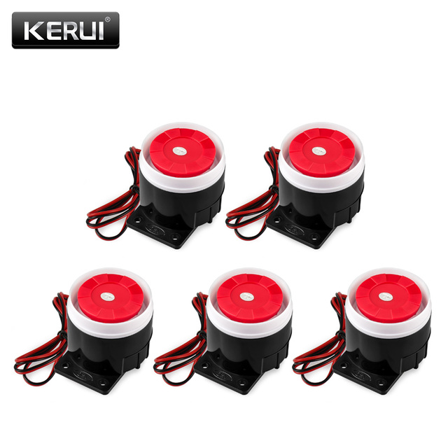 5ps 120dB Mini Horn Sound Alarm 12V DC Mini Wired Siren For KERUI Wireless Home Office Alarm Security System