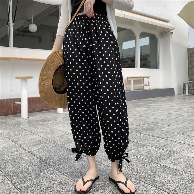 Hiawatha Summer Chiffon High Waist Radish Pants Women Fashion Dot Ankle-Length Pants P1035 27