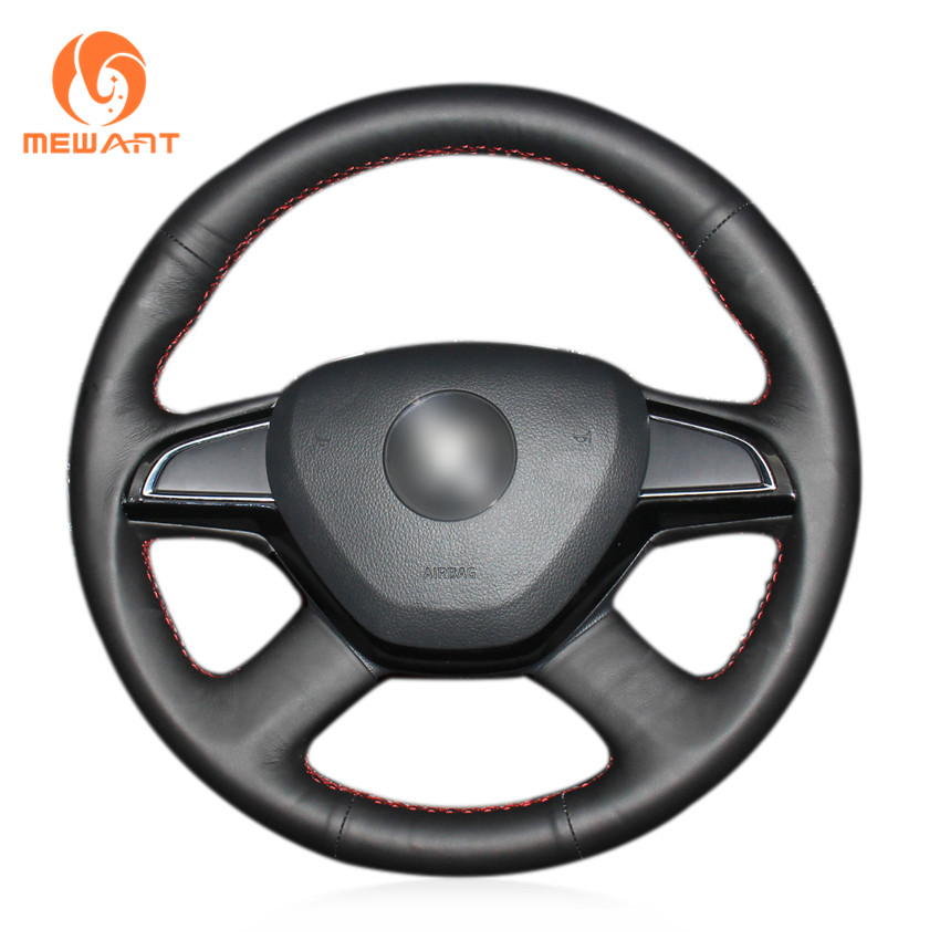 Black Artificial Leather Car Steering Wheel Cover for Skoda Octavia 2015 2016 Fabia 2014 Rapid 2013-2015 Superb 2013-2016 Yeti shining wheat genuine leather steering wheel cover for skoda octavia superb 2012 fabia skoda octavia a 5 a5 2012 2013 yeti