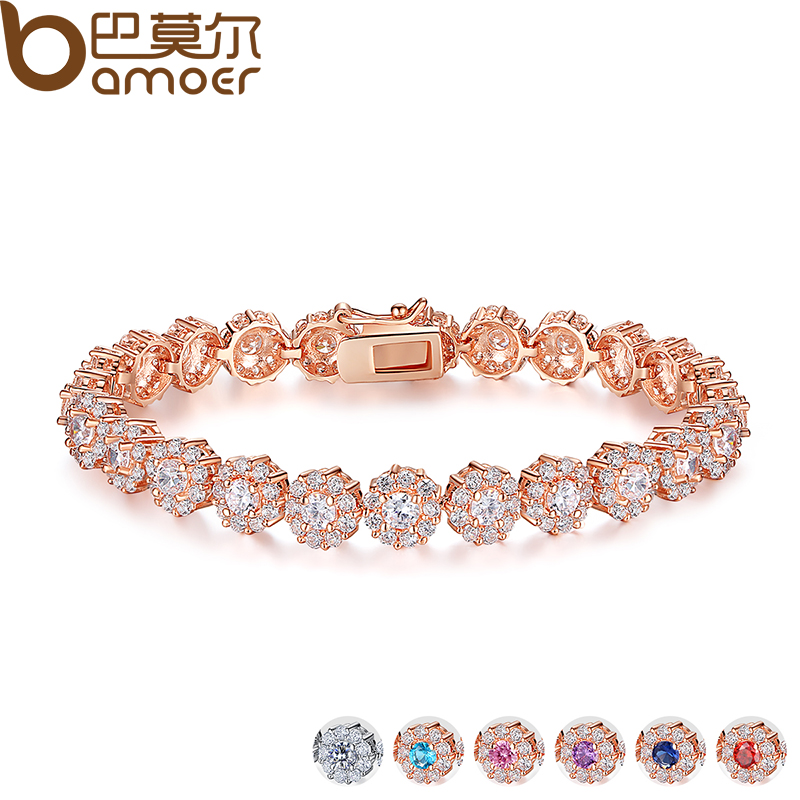 BAMOER 7 Colors Rose Gold Color Chain Link Bracelet for Women Ladies Shining AAA Cubic Zircon Crystal Jewelry Gift JIB012 modern multilayered mixed colors box chain bracelet for women