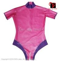 Sharp розовый и голубой сексуальный купальник Латекс Короткие рукава на молнии на задней резиновые купальник боди комбинезон высокие вырезы