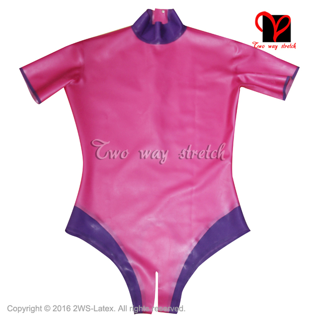 Sharp Pink And Blue Sexy Latex Swimsuit Short Sleeves