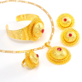 Ethiopian Jewelry set 24k Gold Plated Pendant Necklaces/Earrings/Ring/Bangle Eritrea Africa Habesha Wedding Party items