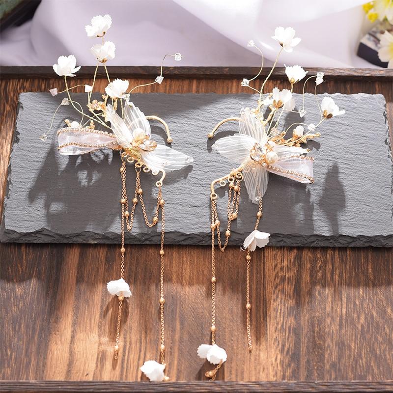 Bride Headdress Ear-Accessories Jewelry Flower-Earrings Wedding-Hair New Banquet Hangs
