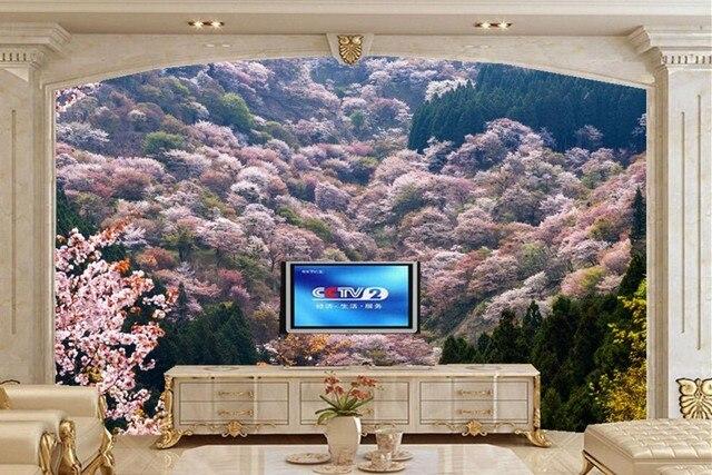 Landschaft Frühjahr Blühende Bäume Natur Tapete, Wohnzimmer Tv Sofa Wand  Schlafzimmer 3d Wandbilder Wallpaper Natur