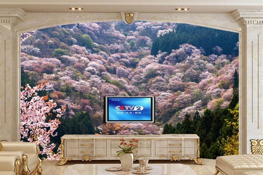 Natuur Behang Slaapkamer : Natuur landschap voorjaar bloeiende bomen behang woonkamer sofa 3d