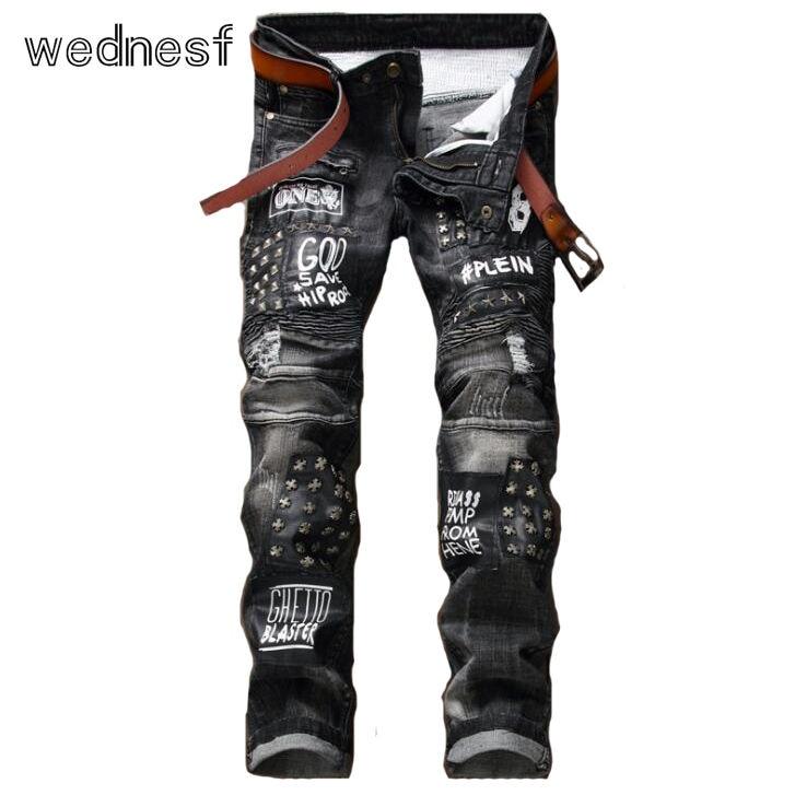 #1941 2017 Patchwork Dark grey Ripped jeans for men Fashion Moto jeans Hip hop Distressed Denim jeans men Punk Biker jeans