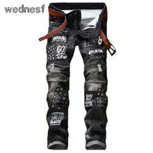 #1941 2017 Лоскутное Темно-серый Рваные джинсы для мужчин Мода Moto jeans Hip hop Проблемных джинсы мужские Панк Байкер джинсы