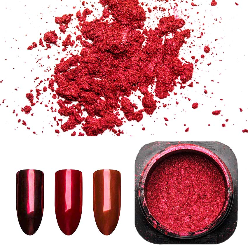 1 Box Red Mirror Nail Glitter Powder Manicure Nail Art Dust Chrome Pigment Nail Art Decoration Accessory SF3036