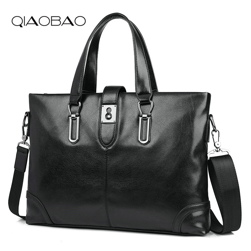 QIAOBAO Fashion Men's Bussiness Bag Messenger Bag Men Genuine Leather Bag Men Casual Briefcase Leisure Shoulder Bag