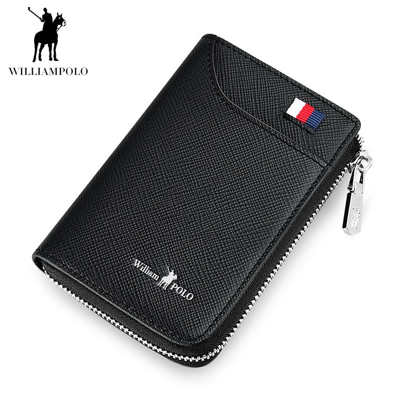 WILLIAMPOLO 2018 Black Small Men Walet Zipper Male Portomonee Short Purse Brand High Quality Genuine Leather Mens Purse POLO310