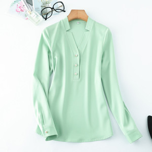Image 4 - High Quality Fashion Women Shirt New Autumn V Neck Long Sleeve Slim Business Blouses Office Ladies Light Green Work Tops