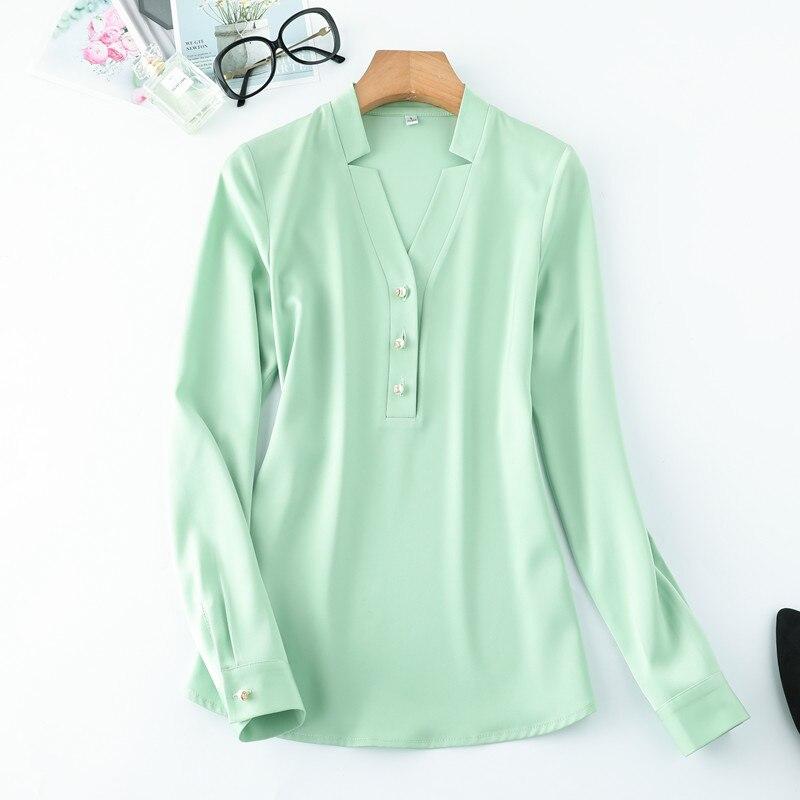 Image 4 - Wysokiej jakości moda damska koszula nowa jesienna v neck z długim rękawem slim business bluzki biurowa, damska jasnozielona bluzki do pracyBluzki i koszuleOdzież damska -