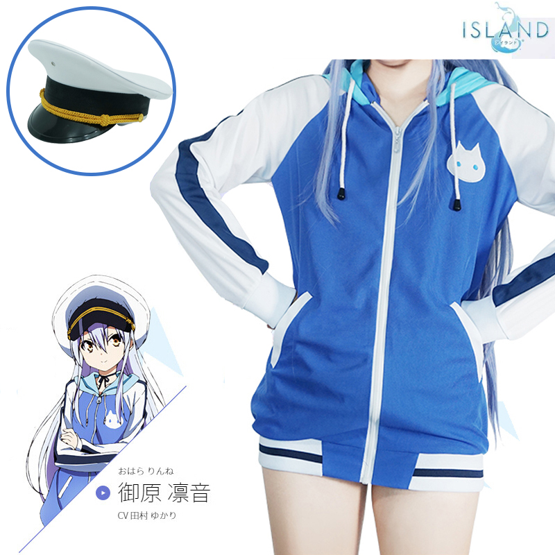 Japan Anime Island Rinne Ohara Cosplay Costume Long Sleeve Jacket Coat Zipper Hooded Halloween Outfit With Cap