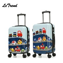 New Fashion 19'20' Cute Cartoon Suitcases Wheel Kids Dinosaur Rolling Luggage Spinner Trolley Children Travel Bag Student(China)
