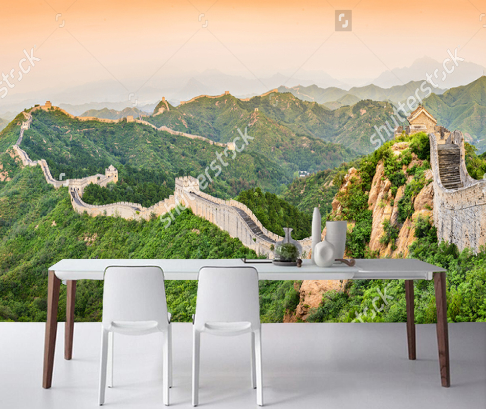 Chinese Landscape Wallpaper, The Great Wall, 3D Photo Mural for Living Room Bedroom Sofa Background Wall Waterproof Wallpaper custom retro wallpaper brick wall 3d wallpaper mural for the living room bedroom kitchen backdrop wall waterproof pvc wallpaper