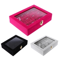 JAVRICK Velvet Jewelry Necklace Earring Hiển Thị Organizer Khay Hộp Lưu Trữ Showcase Gift