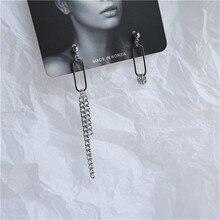 цены Personality Asymmetric Round Chain Pendant Earrings 2019 New Simple Punk Pin Shaped Chain Tassel Drop Earrings for Man Female