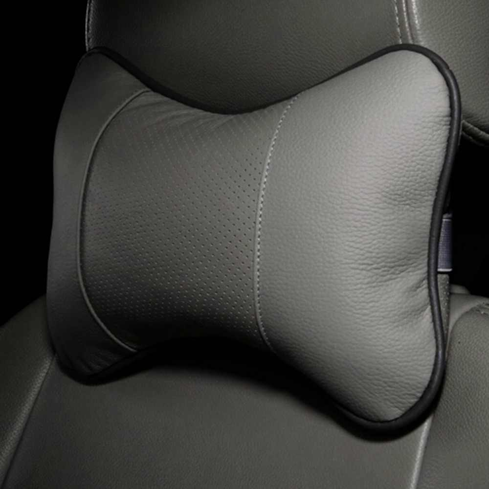 Universel solide forme d'os appui-tête oreiller respirant PU cuir tissu voiture tête cou reste coussin Auto intérieur accessoires