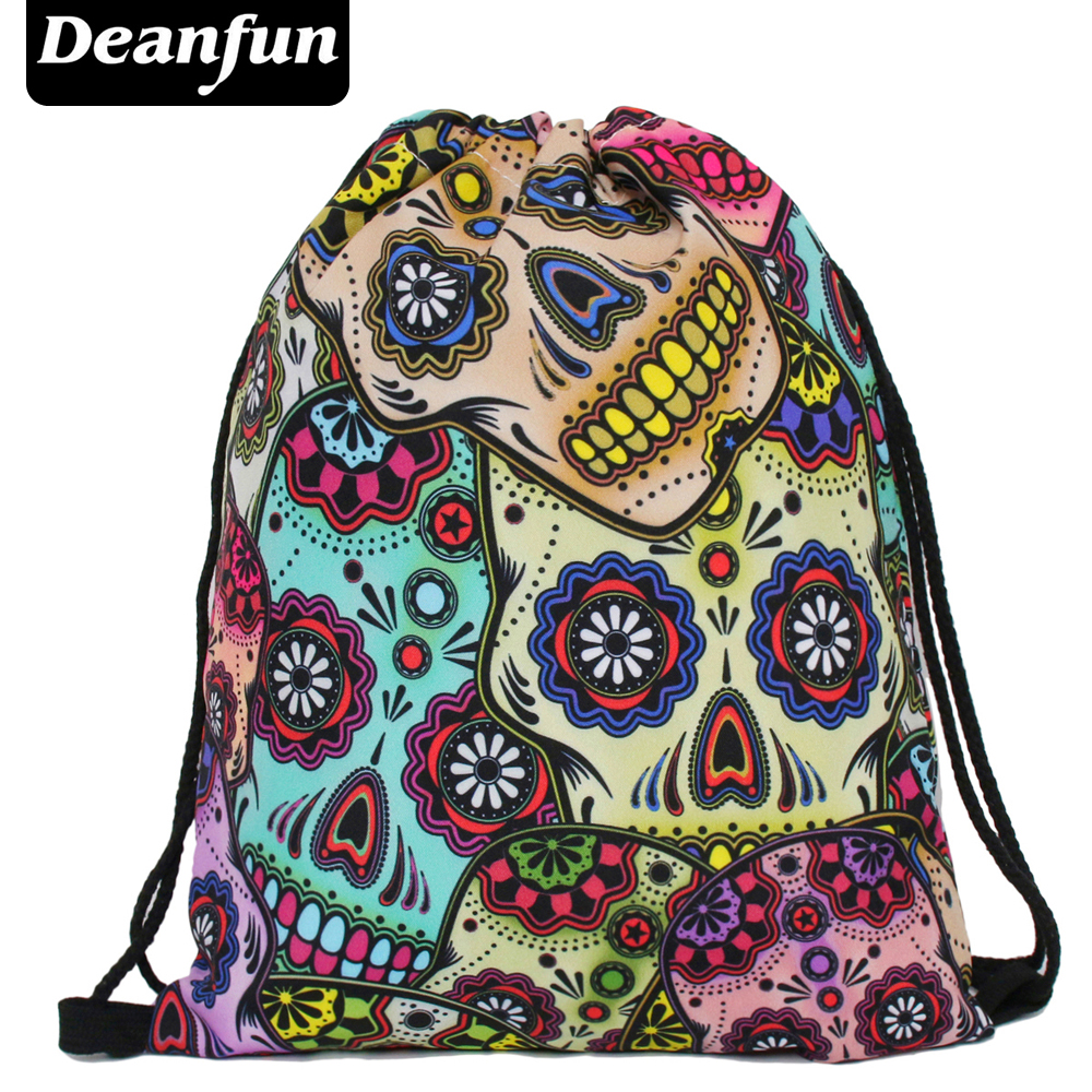 Deanfun Daily Backpack Unisex Mexican Skull Women Backpacks Freeshipping Blue Softback 3d Print Polyest  S3