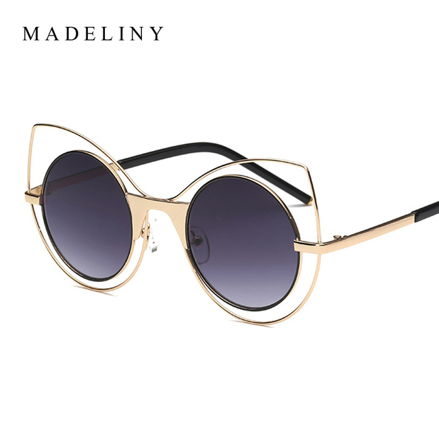 MADELINY Fashion Women Cat Eye Sunglasses New Luxury Metal Frame Brand  Designer Sun Glasses Good Quality